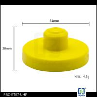 Two Pieces Electronic RFID Livestock Tags 31mm Diameter UHF Animal Tag ET-07-UHF Manufactures