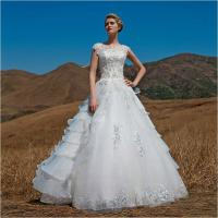 OEM Graceful Short Sleeve illusion neckline puffy Wedding Dresses Beaded Manufactures