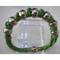 Cheap Jewelry Real Leather Beacelet with Stainless Steel Beads Manufactures
