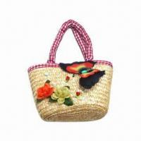 Straw Handbag with Unique Butterfly and Flowers, Beach Bag, Made of Wheatgrass Manufactures