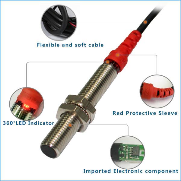 12V Flush 3 wires M8 NPN Proximity Sensor 2mm Sensing Long distance Type