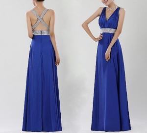 China Blue Backless Evening Dresses , Formal Evening Dresses For Women on sale