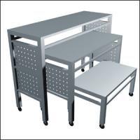 Iron Frame Wooden Store Display Table , Freestanding  Metal Shop Display Tables Manufactures