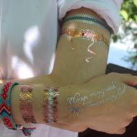 Custom temporary mixed gold and silver flash metal tattoos with factory price Manufactures