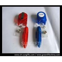 Red/blue stylish badge reel with ball pen and clear vinyl strap