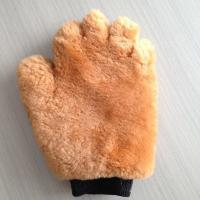 China Double Face Wool Wash Mitt Sheepskin Leather Wash Mitten on sale