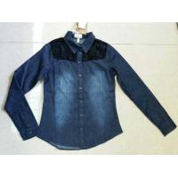 Cheap Girl full sleeve denim shirt with lace,slim cutting girl's jeans blouse stock lots