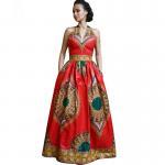 African Style Dresses Women Dashiki Wax Batik Printing Sleeveless Sexy V Neck Manufactures