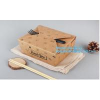 High Quality Custom PE Coated Disposable Kraft Paper Lunch Box,Rectangle Folding Take Away Boxes/Lunch Box/Kraft Paper F Manufactures