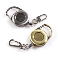 China Classic Metal Retractable Badge Clip Key Holder Round Antique Matte Surface on sale
