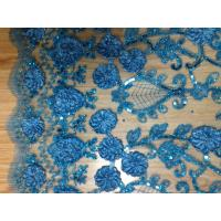 Blue Sequin Embroidered Fabric For Party , Tulle Lace Fabric Manufactures
