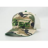 Personalized Green Mesh Snapback Trucker Camouflage Hats , Camo Ball Caps Manufactures