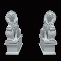 White Garden Cast Iron Decor Carved Stone Pair Animals Lion Polished Finishing Manufactures