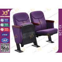 Triangle Armrest Short Back Rest Auditorium Church Chairs With Folding Soft Padded Seat Manufactures