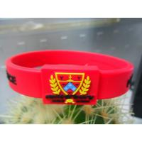 Red / Black Printed Embossed Silicone Bracelet, Hologram Energy Armor Bracelets Manufactures