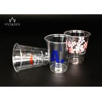 China Juice Clear Plastic Drinking Cups Food Safe Ink Printed Heavy Weight on sale