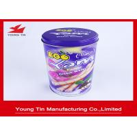 Quality Egg Rolls Packaging Round Cylinder Gift Tin Box Custom Artwork CMYK Printed for sale