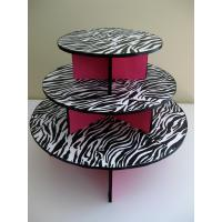 3 Tier Cardboard Cake Stand Zebra Pattern Customized Size Round Shape Manufactures