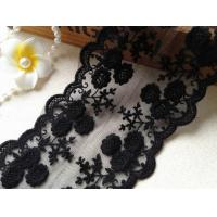 Black Flower Embroidery Tulle Mesh Nylon Lace Trim With Scalloped Edge 4.3'' Width Manufactures