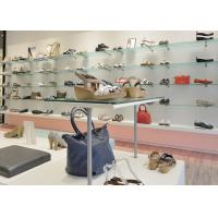 Quality MDF Shoe Display Shelves Matte White Coating Finishes Modern Special Appearance for sale