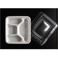 White 4 Holes PP Food Tray Heat Resistance For Reducing Transportation Costs
