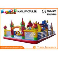 Colorful Inflatable Amusement Park For Kids / Fun City Inflatable Bouncers With Slide Manufactures