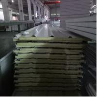 Quality 840-25-426mm iron grey steel sheet up and silver paper down glass wool sandwich panel for sale