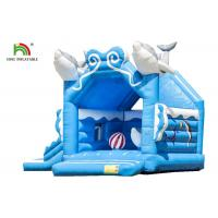 Customize Business 1.6ft Blue Dolphin Inflatable Jumping Castle For Kids Double - Triple Stitch Manufactures