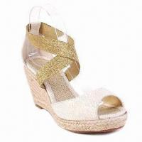 China Ladies' Wedge Style Shoe with Fabric, Natural Cord Platform on sale