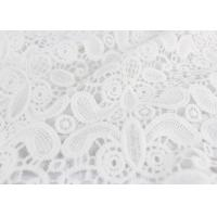 Embroidery White Stretch Lace Fabric , Water Soluble Guipure Lace Fabric For Wedding Dresses Manufactures