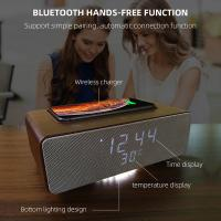 Wireless Charging Bluetooth Stereo Speakers Alarm Clock Room Temperature Display Manufactures