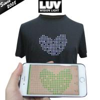 China Screen Shirt Remote Lighting Scrolling Led Programmable Message T-shirt on sale