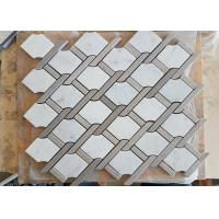 White marble hexagon mosic tile 10mm Thickness For Bathroom / Kitchen Manufactures