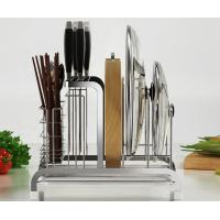 Polished Stainless Steel Stand For Kitchen , Grooves Support Metal Kitchen Shelves Manufactures