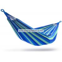 Blue Green Stripe Brazilian Sleeping Hammock , Porch Cotton Woven Hammocks For Two Manufactures
