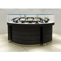 Curve Wood Black Lighted Jewelry Display Case / Jewellery Display Cabinets Manufactures