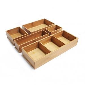 Bamboo wood kitchen cutlery holder drawer organizer