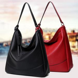Custom Black Leather Shoulder Handbags Cotton Lining Zinc Alloy Hardware Manufactures