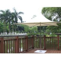 China Stainless Steel Iron Base Double Patio Umbrella Waterproof Middle Pole Deck Parasol on sale