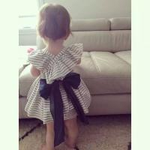 Angou 2016 Ins Hot Baby Girl Sets Striped Bow Princess dress+pants 2pcs Toddler