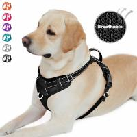 No - Pull Reflective Dog Harness Easy On / Off Vest Customized Size Fit All Seasons Manufactures