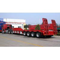 4 Axles 100 Tons Low Bed Truck Trailer For Crane Transportation Red Manufactures