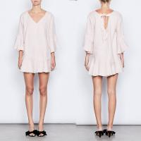 Buy cheap Women Fashion Plus Size Elbow Bell Sleeve Linen Bow Tie Mini Dress for Women from wholesalers