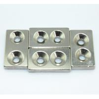 Nickel NI-CU-NI Coating Disc Countersink Neodymium Block Magnets with Two Counter Holes Manufactures