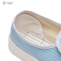 Quality Clean room pvc sole canvas esd anti-static white blue stripe esd anti slip for sale