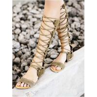 Latest Brand Designer Bandage Lace Knee High Hollow Out Flat Gladiators Boots For Women Summer Shoes Manufactures