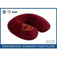 Quality Cartoon Embroidery Comfortable Memory Foam Travel Neck Pillow Violet / Red / Blue for sale