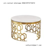 New classical Hotel marble table bronze color stainless steel hollowed out design Manufactures