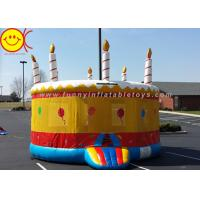 China 0.55mm PVC Inflatable Birthday Cake Bouncer House Jumper Combo Bouncer for Kids Play Cake Shape Jumping Castle wholesale