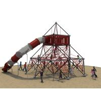 Galvanized Pipe Kids Climbing Nets With LLDPE Plastic Tube Slide Manufactures